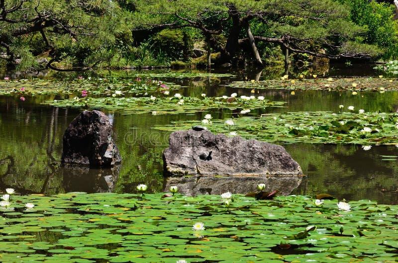Bloeiende Japanse tuin van Heian-Heiligdom, Kyoto Japan stock fotografie
