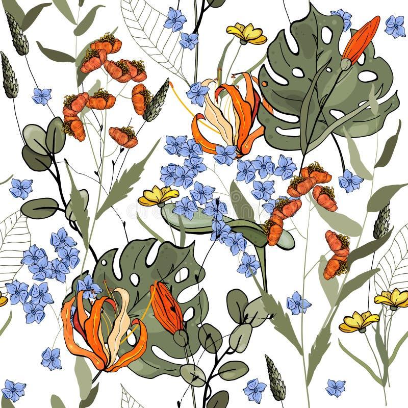 Bloeiende realistische geïsoleerde bloemen Getrokken hand Vector illustratie Retro Wild naadloos bloempatroon Uitstekende achterg vector illustratie
