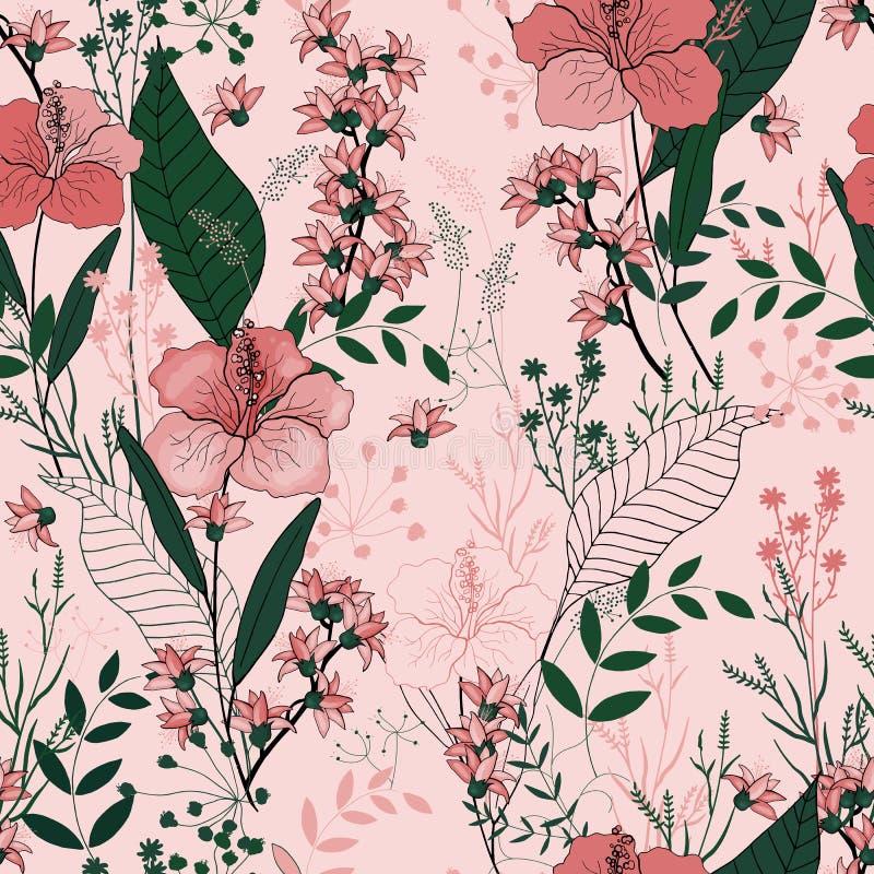 Bloeiende realistische geïsoleerde bloemen Getrokken hand Vectorillustra vector illustratie