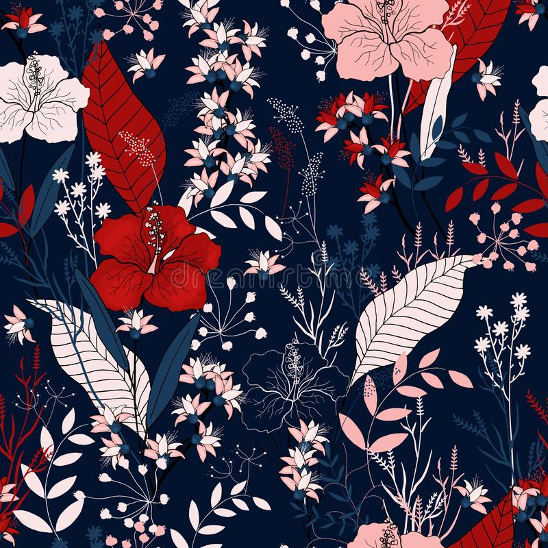 Bloeiende realistische geïsoleerde bloemen Getrokken hand Vectorillustra royalty-vrije illustratie