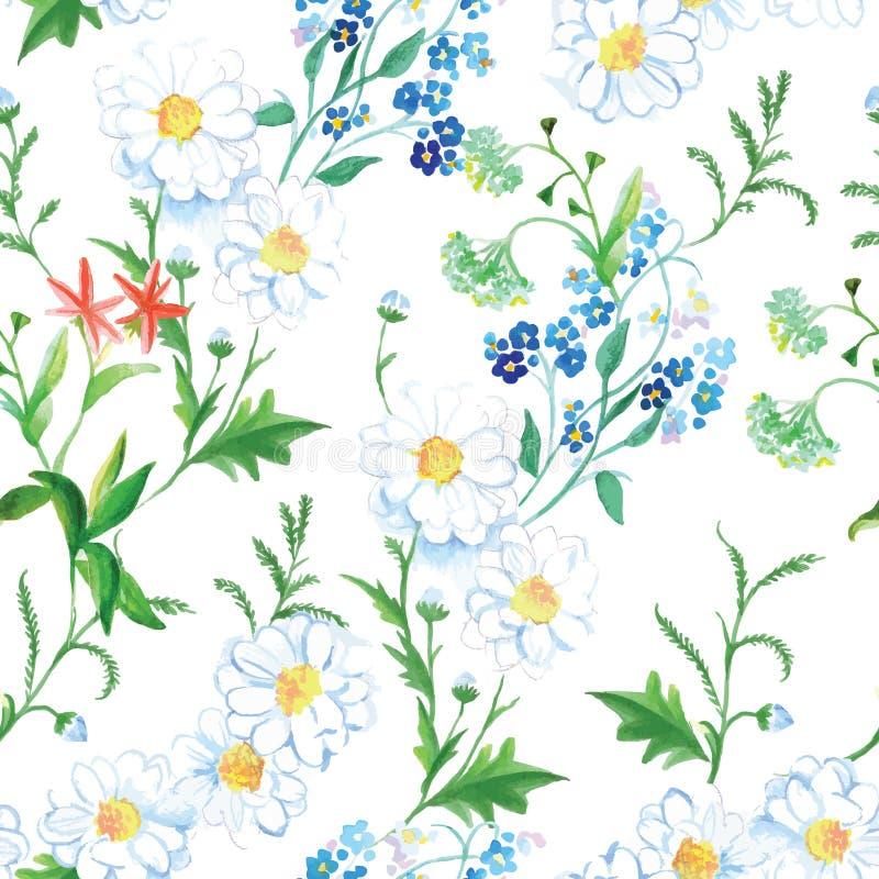 Bloeiende weide bloemen naadloze vectordruk vector illustratie