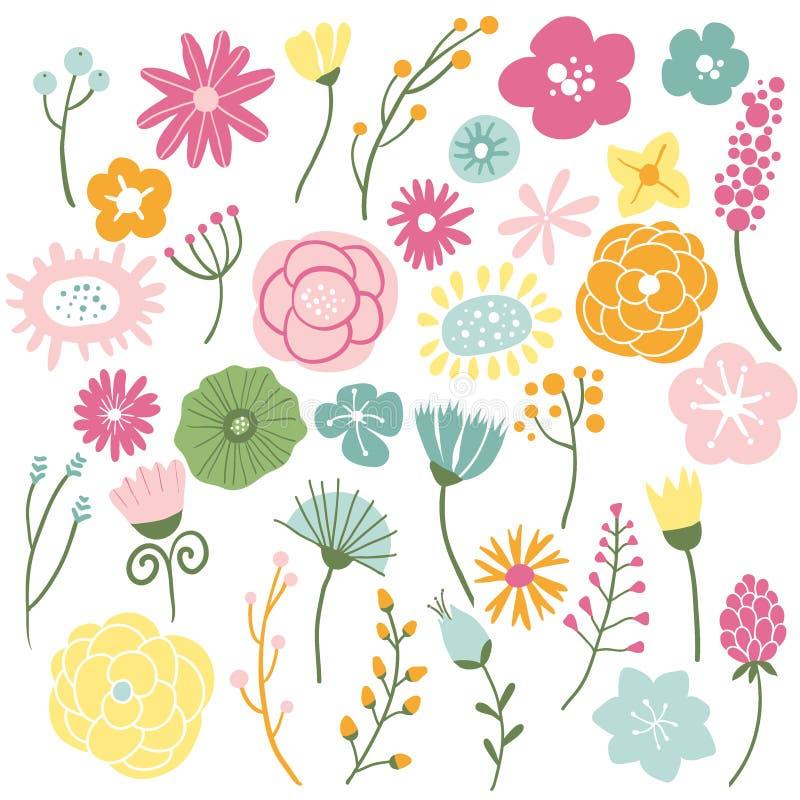 Bloeiende wilde bloemen vector illustratie