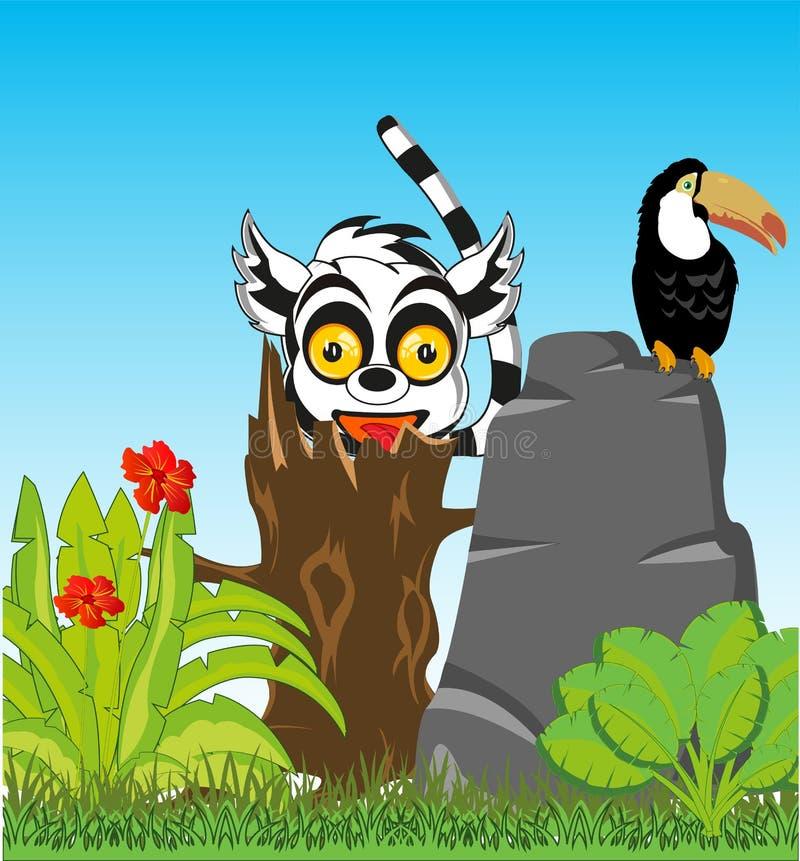 Bloeiende wildernis met dier en vogel Vector illustratie royalty-vrije illustratie