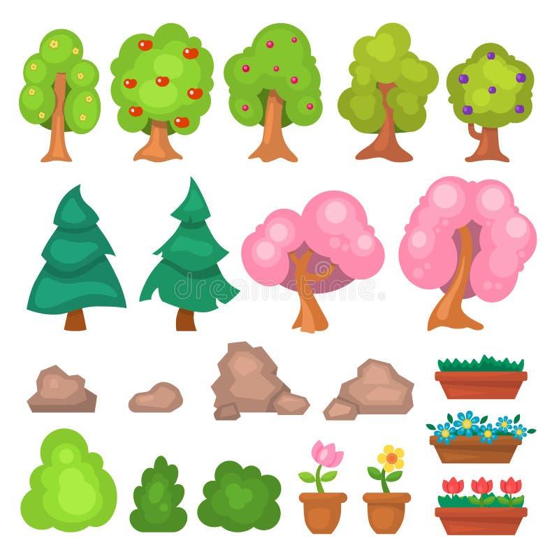 Bloeit de bomen en de bloemen de elementen vectorillustratie van het spelpark van de gras grote en kleine tuin royalty-vrije illustratie