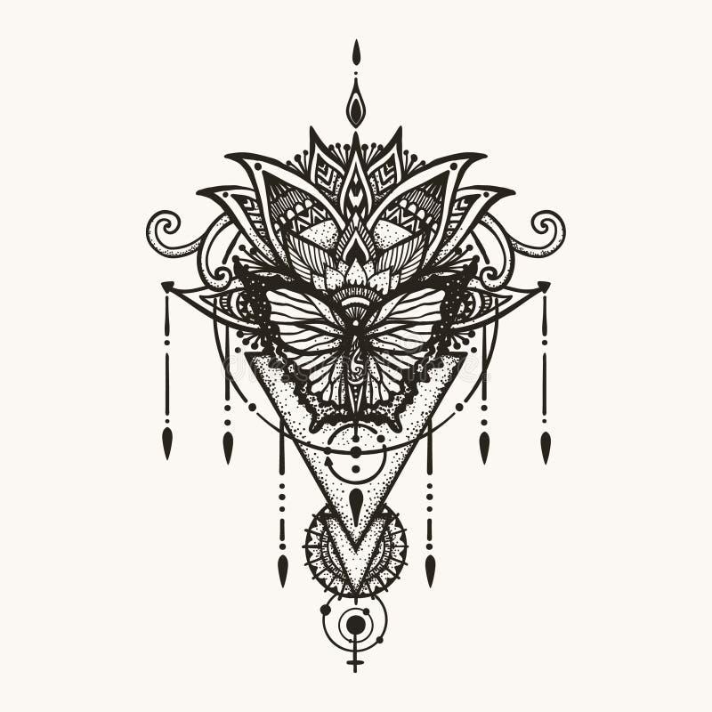 Bloeit de hand getrokken vlinder op boho met geometrisch symbool van wijfje en astrologie voor vrouwen achtertatoegering, T-shirt stock illustratie