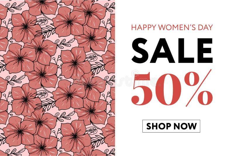Bloeit de mooie bloemenstijl van de de verkoopbanner van de kunstwaterverf voor 8 Maart, Mother' s Dag Women' s dag vector illustratie