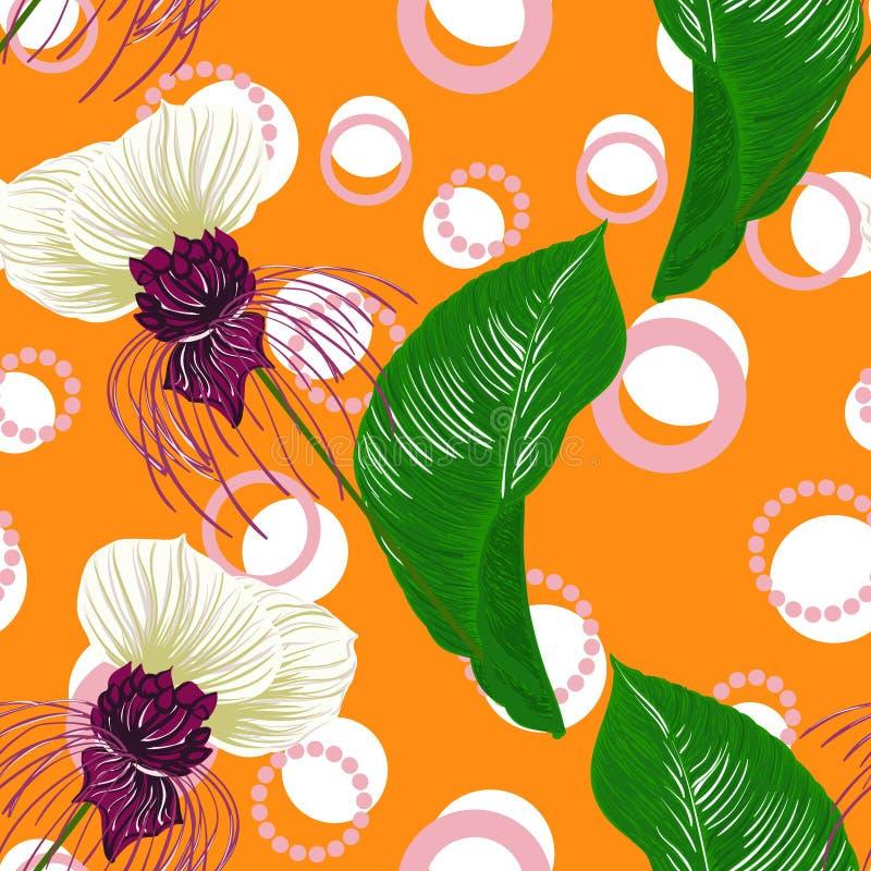 Bloeit de de zomer tropische bosknuppel helder naadloos patroon voor fashoinstof, behangboek, editable kaartvector vector illustratie