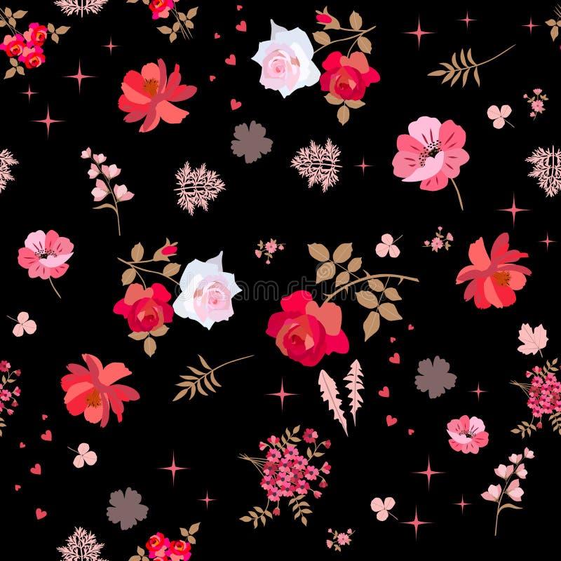 Bloeit het Ditsy bloemen naadloze patroon met rode en roze rozen, klok en kosmos en gaat van paardebloem, viburnum en alsem weg vector illustratie