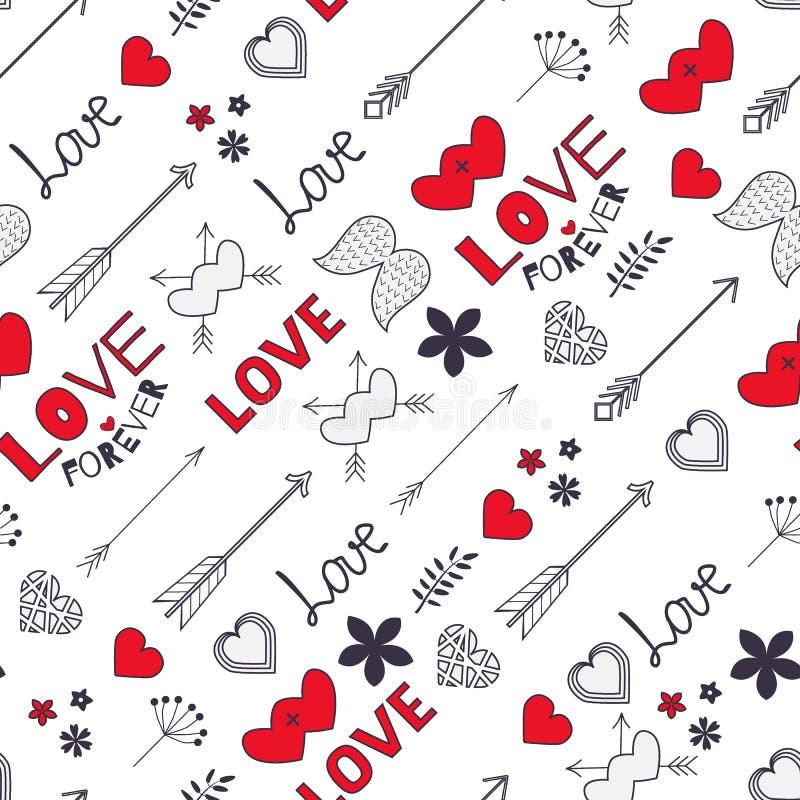 Bloeit het naadloze patroon van Valentine met harten, pijlen, vleugels, a stock illustratie