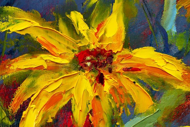 Bloeit het schilderen, gele wilde bloemenmadeliefjes, oranje zonnebloemen op een blauwe achtergrond, het impressionismeartwo van  royalty-vrije stock foto