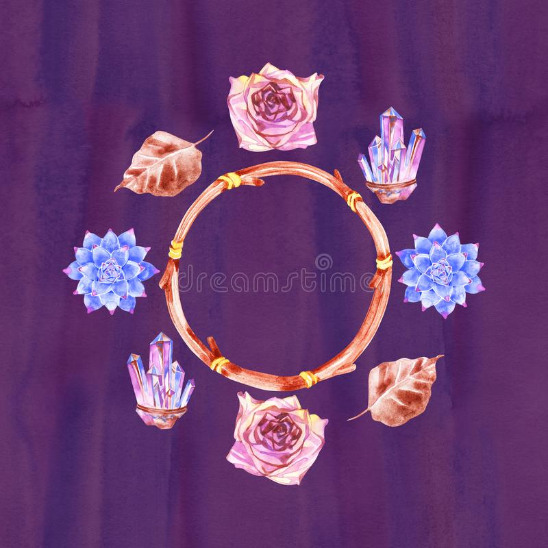 Bloem Boheems boeket met rozen De decoratieve samenstelling voor huwelijksuitnodiging en bewaart de datumkaart watercolor stock illustratie