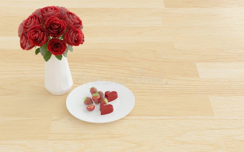 Bloem in de vaas met dessert op een plaat stock fotografie
