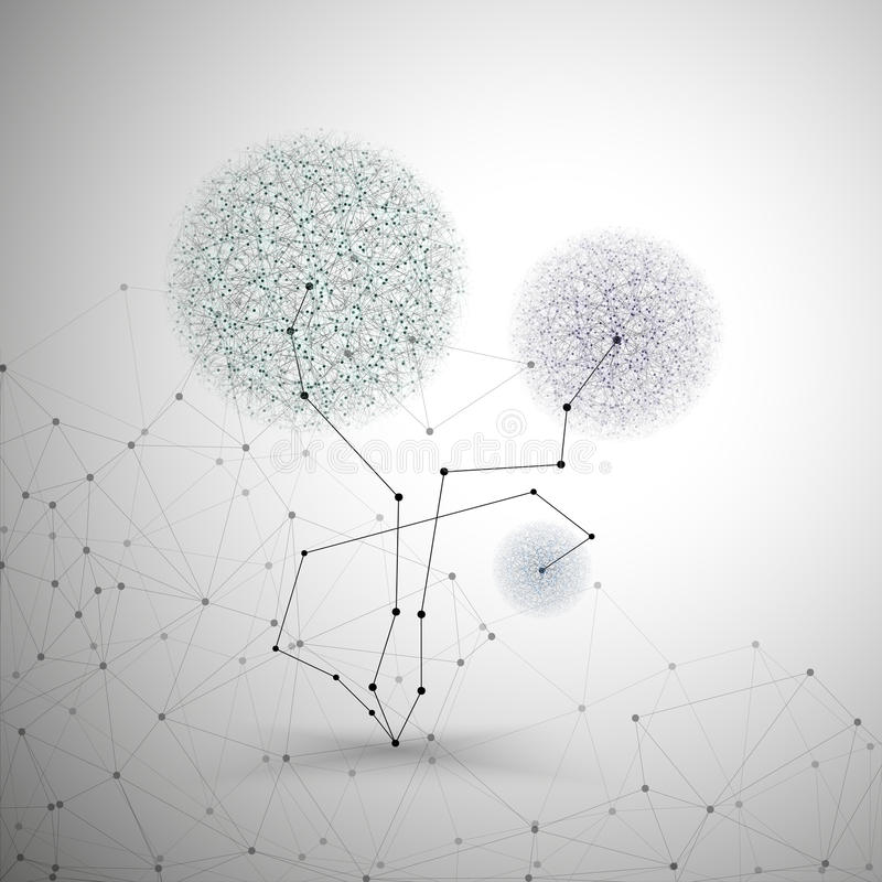 Bloem in de vorm van moleculaire grijze structuur, stock illustratie