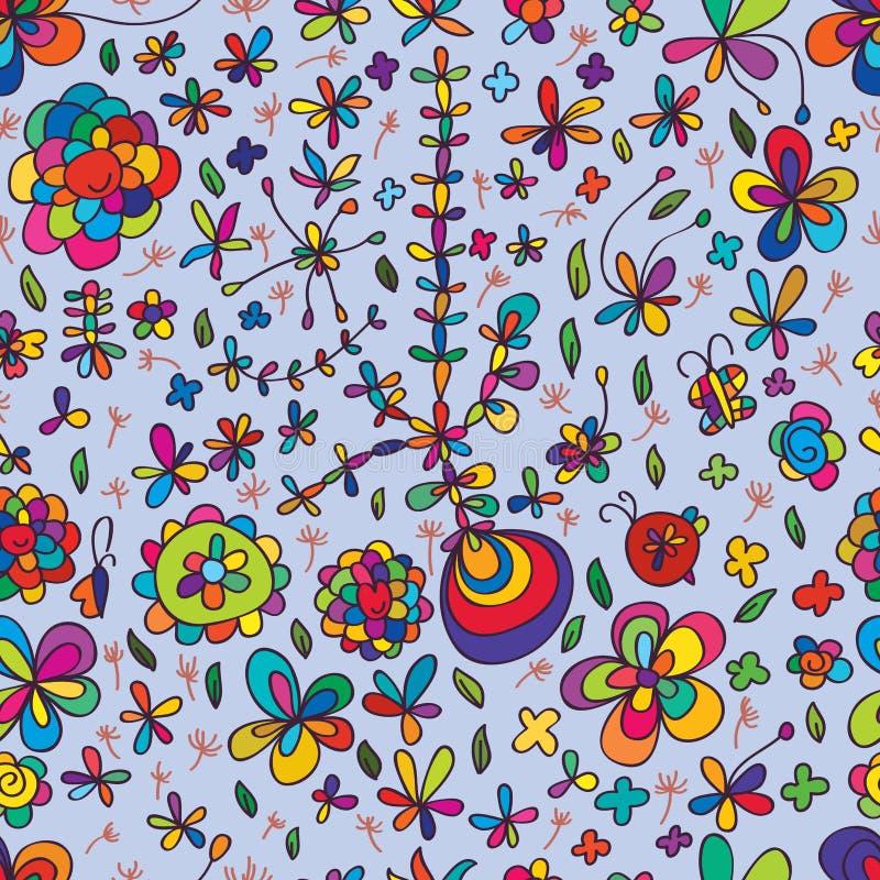 Bloem die kleurrijk naadloos patroon trekken royalty-vrije illustratie