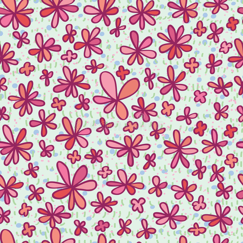 Bloem die roze naadloos patroon trekken royalty-vrije illustratie