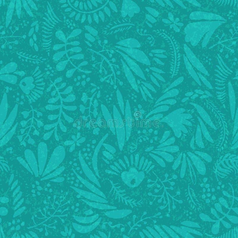 Bloem en van het bladerenbeeldverhaal silhouet naadloos patroon het eindeloze patroon van de de zomerbloem, retro kleuren stock illustratie
