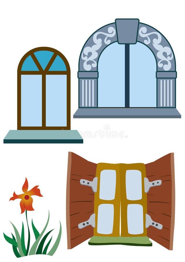 Bloem en vensters royalty-vrije illustratie