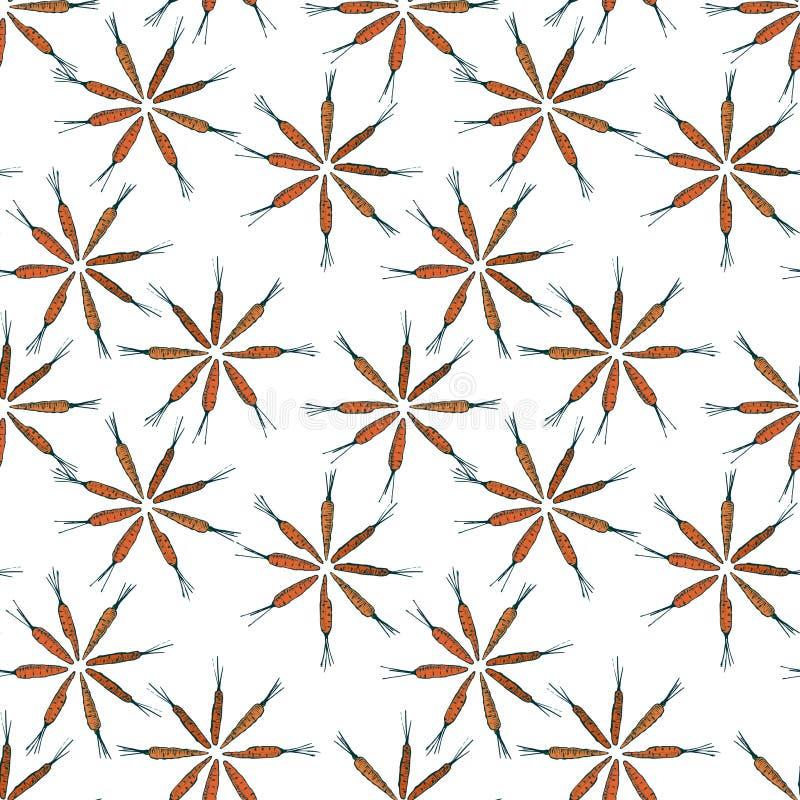 Bloem gestalte gegeven wortel naadloos patroon Vector grafiek Kleurrijke wortelen op een witte achtergrond stock illustratie