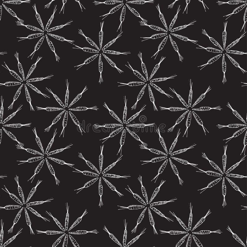 Bloem gestalte gegeven wortel naadloos patroon Vector grafiek Zwarte achtergrond vector illustratie