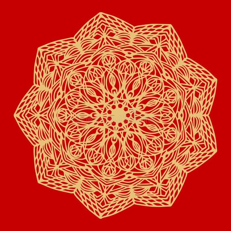 Bloem Gouden Mandala Uitstekende decoratieve elementen Oosters patroon, vectorillustratie Indisch ornament Geïsoleerd op a royalty-vrije illustratie