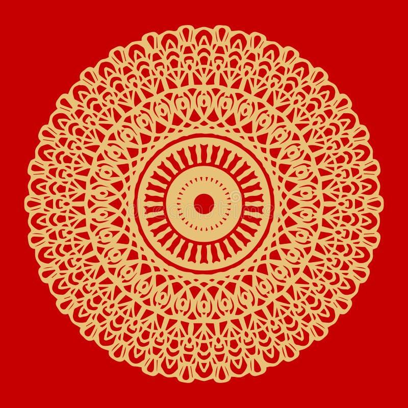 Bloem Gouden Mandala Uitstekende decoratieve elementen Oosters patroon, vectorillustratie Indisch ornament Geïsoleerd op a stock illustratie
