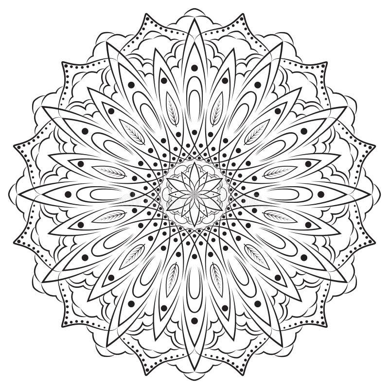 Bloem Mandala Decoratieve Elementen Oosters patroon, kleurende vectorillustratie royalty-vrije illustratie