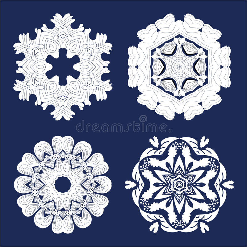 Bloem Mandala Doodle Vector Designs stock illustratie