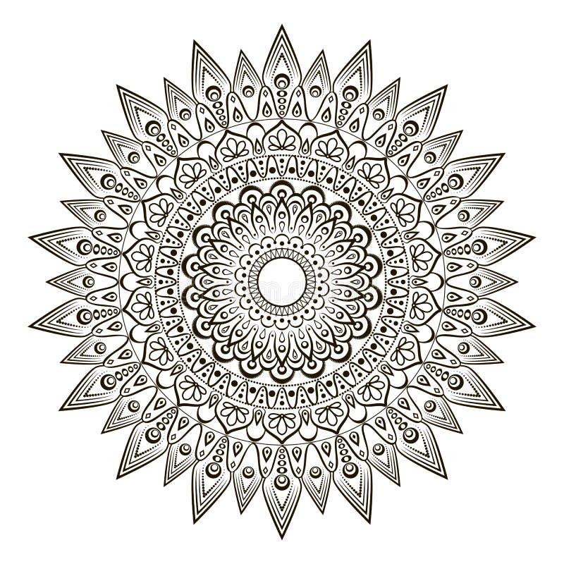Bloem Mandala Rond Ornamentpatroon Oosters patroon, kleurende vectorillustratie vector illustratie