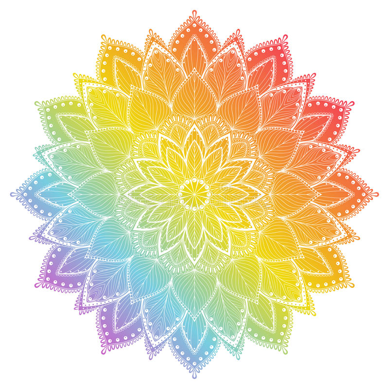 Bloem Mandala Uitstekende tatoegerings decoratieve elementen Oosters patroon, vectorillustratie royalty-vrije illustratie