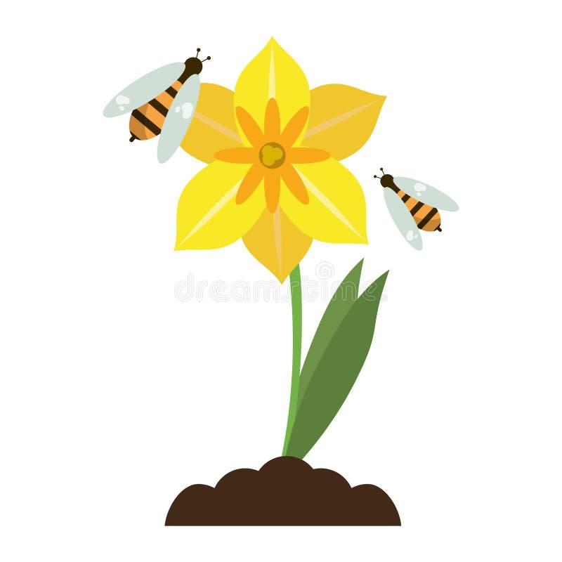 Bloem met geïsoleerd bijenbeeldverhaal stock illustratie