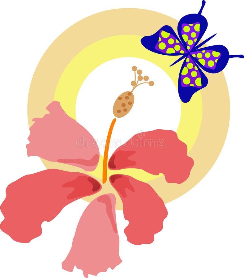 Bloem met vlinder vector illustratie