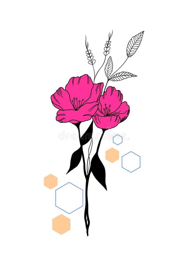 Bloem met wat hexagon vorm royalty-vrije illustratie