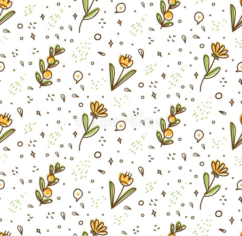 Bloem naadloos patroon in de stijl vectorillustratie van de kawaiikrabbel royalty-vrije illustratie