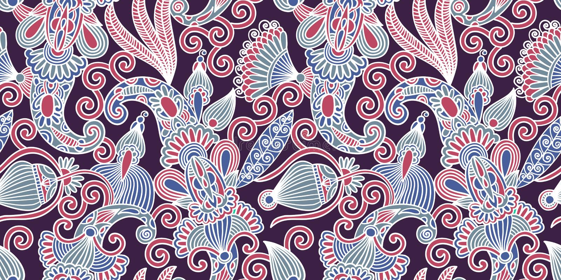 Bloem naadloos patroon, het Indische ontwerp van Paisley vector illustratie