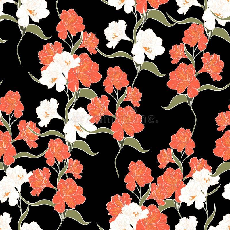 Bloem naadloos patroon met mooie oranje de bloementak van de alstroemerialelie royalty-vrije illustratie