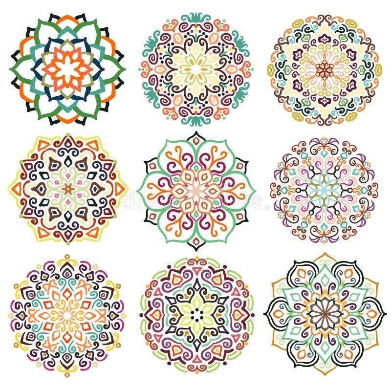 Bloem om Ornament Mandala Set stock illustratie