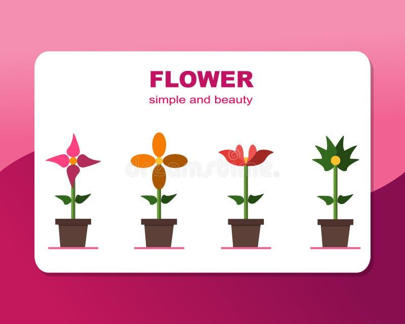 Bloem, rozen, zonnebloemen, groene bloem, eenvoudig en schoonheid vector illustratie
