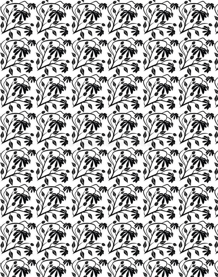 Bloem, stam en bladeren Naadloos patroon 1 royalty-vrije stock afbeelding