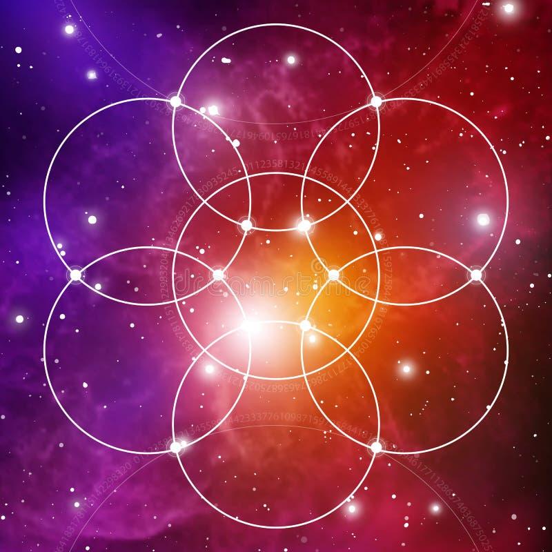 Bloem van het leven - het met elkaar verbindende cirkels oude symbool op kosmische ruimteachtergrond Heilige Meetkunde De formule stock illustratie