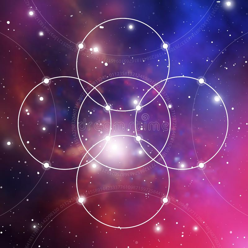 Bloem van het leven - het met elkaar verbindende cirkels oude symbool op kosmische ruimteachtergrond Heilige Meetkunde De formule vector illustratie
