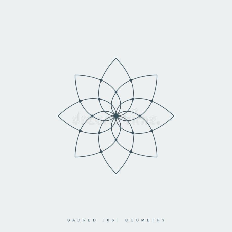 Bloem van het leven, lotusbloembloem, heilige meetkunde stock illustratie