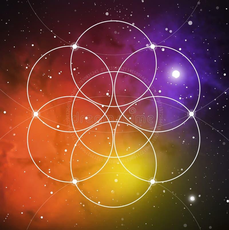 Bloem van het leven - het met elkaar verbindende cirkels oude symbool op kosmische ruimteachtergrond Heilige Meetkunde De formule royalty-vrije stock afbeeldingen