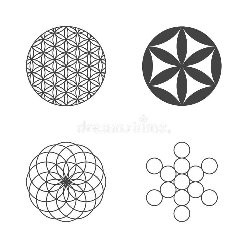 Bloem van het leven Reeks pictogrammen De elementen van het ontwerp stock illustratie