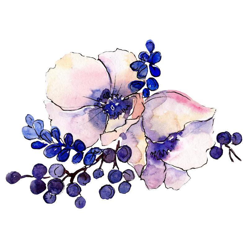 Bloem van het waterverf de roze boeket Bloemen botanische bloem Geïsoleerd illustratieelement stock illustratie