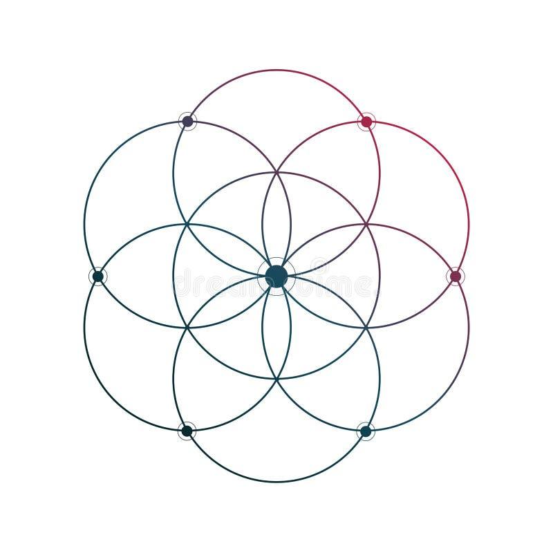 Bloem van minimale de tatoegeringsschets van de het levens heilige meetkunde op witte achtergrond royalty-vrije illustratie