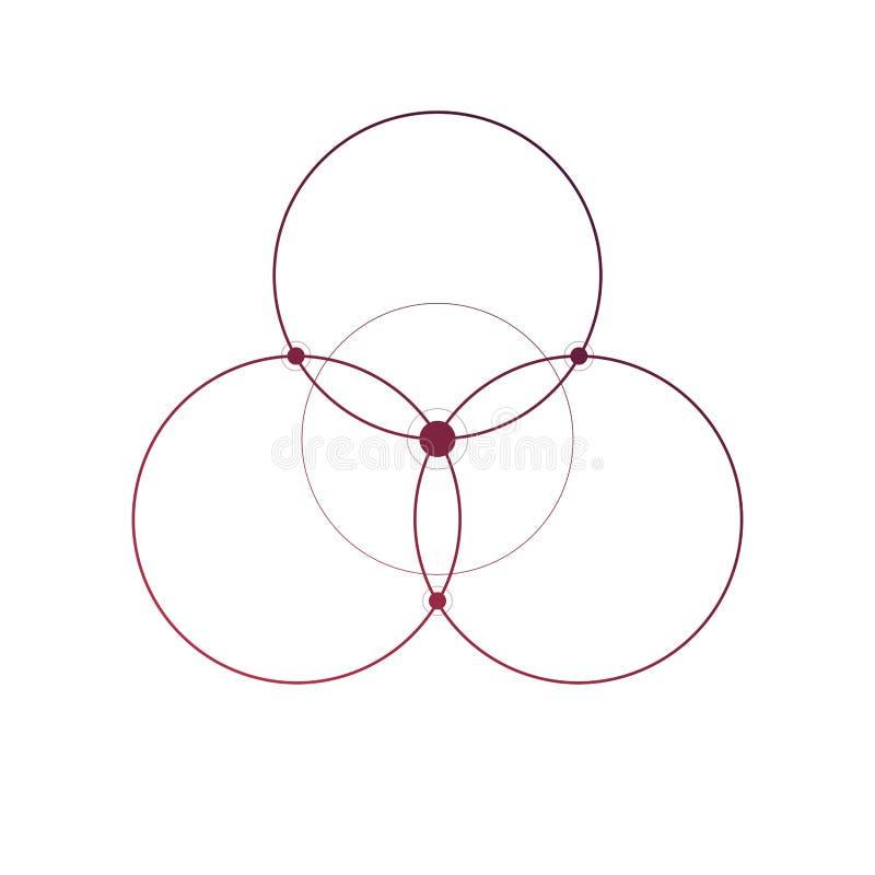 Bloem van minimale de tatoegeringsschets van de het levens heilige meetkunde op witte achtergrond vector illustratie