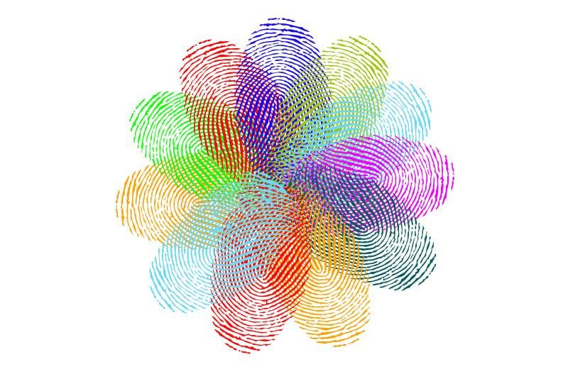 Bloem van vingerafdrukken vector illustratie