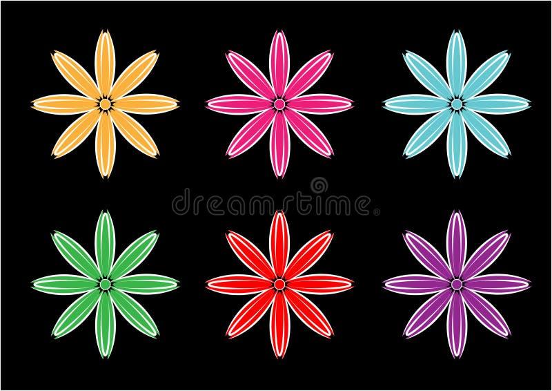 Bloem vectorontwerpen als achtergrond in verschillende kleuren royalty-vrije illustratie