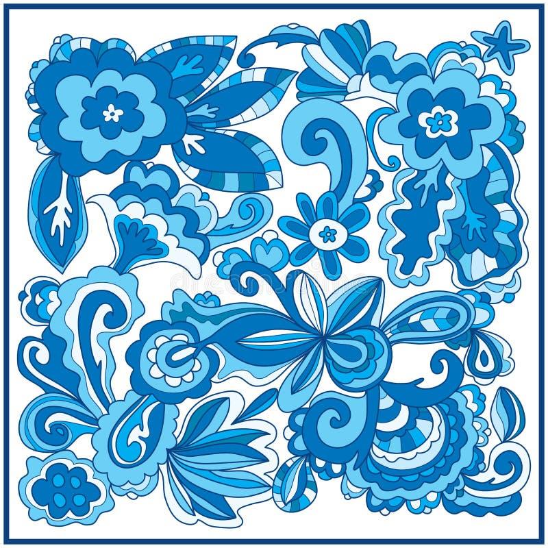 Bloem vierkant modern blauw royalty-vrije illustratie