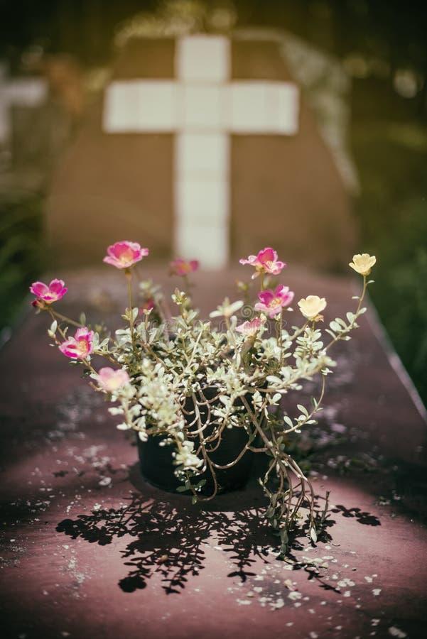 Bloem voor een kruis, in een begraafplaats, met een uitstekende filter Steenkruis op grafzerk - christelijk kruis op graf Grafste stock foto